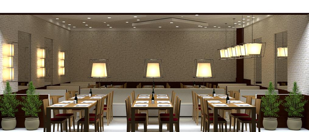 ilustração 3D de um restaurante