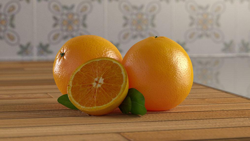 Ilustração de laranjas no Blender 3D
